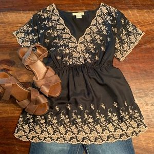 Silk Embroidered babydoll top